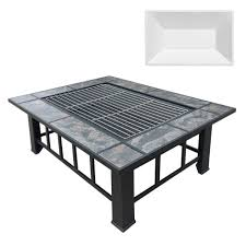 outdoor furniture white. Outdoor Fire Pit BBQ Table Grill Fireplace W/ Ice Tray Furniture White O