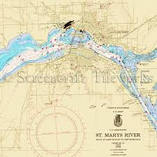 Michigan St Marys River Sault Ste Marie Lake Huron Nautical Chart Decor