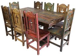 rustic dining set. Rustic Painted And Natural Wood Dining Set With Thick Trestle Pedestal Base E
