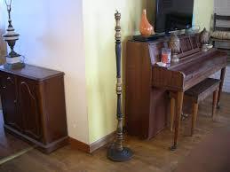 Antique Turned Wood Floor Lamp Cast Iron Base Black Gold Art Nouveau Style 1920s 1930s Home Decor Repurpose Makeshift Coat Or Hat Stand