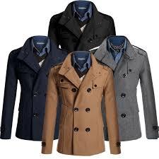 details about fashion men s coat double ted peacoat long jacket winter dress top m xl