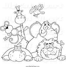 zoo sign clip art black and white. Wonderful Art Big Cat Vector Clipart Of Black And White Happy Zoo Animals Over A  On Sign Clip Art And O