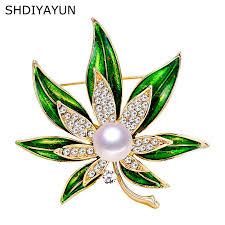 <b>SHDIYAYUN New Pearl</b> Brooch Crystals Flower Brooch For Women ...