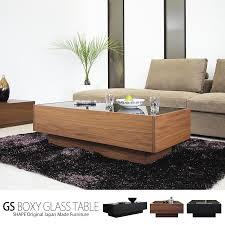 center table walnut glass wooden drawer w black black scandinavian modern domestic completed gs