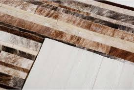 attractive leather area rugs brown brindle and white leather area rug stripes design shine