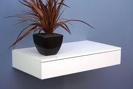 White Floating Shelf Floating Shelf With Drawer 450x250x80mm The Shelving Shop