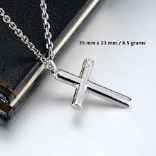 mens silver cross necklace silver cross necklace blue sweet necklaces cylinder cross pendant for men