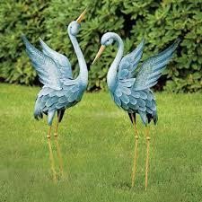 japanese blue herons garden sculpture