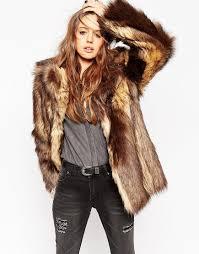 asos vintage faux fur coat brown