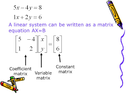 2 a linear system can be written as a matrix equation ax b coefficient matrix variable matrix constant matrix