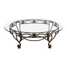iron cast glass top antique coffee table