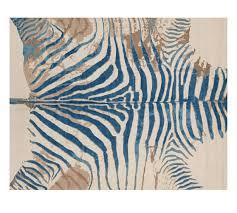 printed zebra rug blue