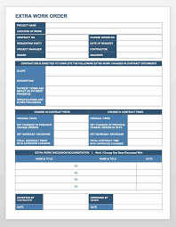 Extra Work Order Template Complete Collection Of Free Change Order Forms Smartsheet