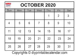 Calendar 2020 Template Free October 2020 Printable Calendar Template