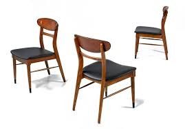 mid century modern set of 8 lane acclaim curved back black vinyl dining chairs for
