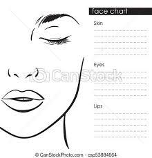 face chart makeup template beautiful woman portrait csp53884664