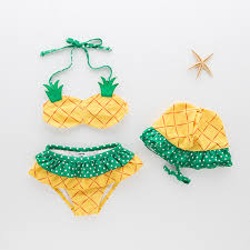 Toddler <b>Girl</b> Print Yellow <b>Pineapple Bikinis</b> With Swim Cap