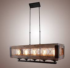decomust metal and wood kitchen island lighting chandelier basked pendant wire mesh rope shade retro vintage industrial rustic ceiling lamp caged light 32