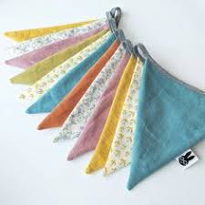 10ieces 2.5M 12flags Blue Vintage Fabric Bunting Handmade ...