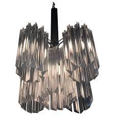 murano camer glass chandelier chrome italian