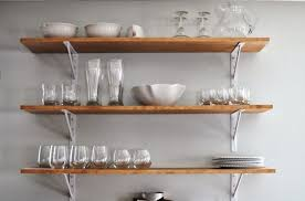 3 tier wooden kitchen wall shelves with white painted metal support