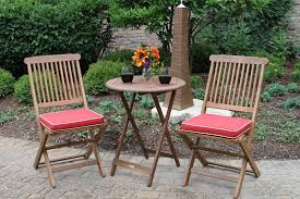image of outdoor bistro table set wood