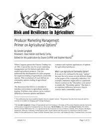 Primer on Agricultural Options - Agricultural & Applied Economics