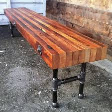 industrial reclaimed furniture. custom made reclaimed wood bench with industrial cast iron legs furniture