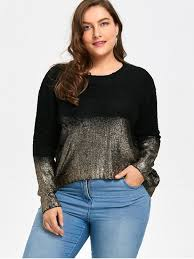 plus size cardigans on sale ombre glitter asymmetric plus size sweater black gold plus size