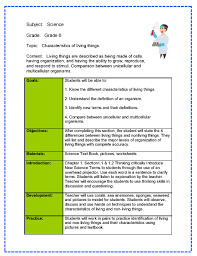 Lesson Plans Formats Elementary Sample Lesson Plan In Science Elementary