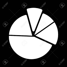 Pie Chart Diagram Vector Icon Black And White Graphic Illustration