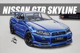 nissan skyline fast and furious drawing. Nissan GTR Skyline Izim Realistic Car Drawing To Fast And Furious