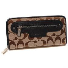 Coach Zip In Monogram Large Black Wallets DUJ