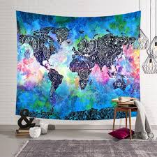 boho world map indian tapestry wall hanging mandala