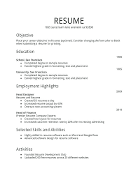 Objective For Resumes Unique Simple Resume Example Free Professional Resume Templates Download