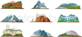 Nature mountain silhouette elements set Outdoor icon hill tops Ice