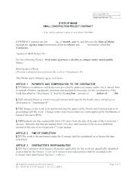 Contract Forms For Construction Simple Construction Contract Form Ing Contract Template Construction