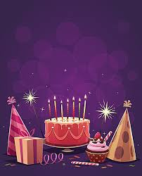 Happy Birthday Purple Background Purple Cake Candle Background