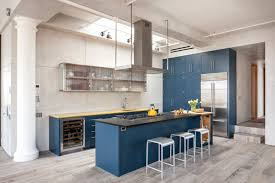 kitchen blue kitchens with dark cabinets cool black l shape granite counter top chrome stainless