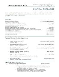 Resume Objective For Internship Resume Of A Physical Therapist Physical Therapy Resume Pt Resume 51