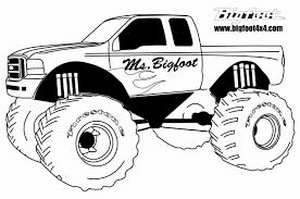 Coloring Pages Monster Truck Grave Digger Car Art Throughout Page