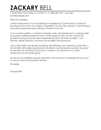 Cover Letter Samples For General Labour Cover Letter Templates