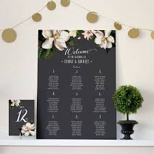 Wedding Chart black magnolia wedding seating chart by vanilla retro stationery 1