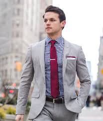 Light Grey And Burgundy Suit Sharp Look Light Grey Mens Suit With Gingham Shirt And