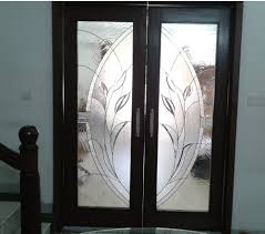 hinged silver stained glass door