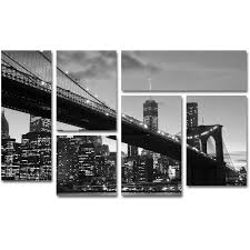 trademark fine art brooklyn bridge 5 canvas art by cateyes 6 piece multi panel art set walmart  on 6 piece wall art set with trademark fine art brooklyn bridge 5 canvas art by cateyes 6 piece