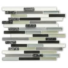 stick wall tiles quotxquot: instant mosaic random sized glass natural stone metal peel and stick tile in home depot