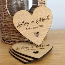 Wedding Coasters Wooden Heart Wedding Table Coaster Personalised Keepsake Favours