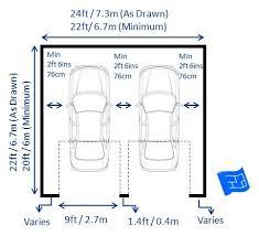 garage door sizeDouble garage dimensions with 2 doors including garage door