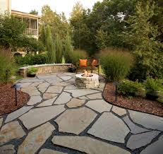 flagstone patio and natural stone fire pit traditional patio